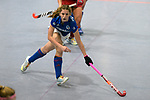 Mannheim, Germany, January 07: During the 1. Bundesliga Damen Hallensaison 2017/18 Sued  hockey match between Mannheimer HC (blue) and Nuernberger HTC (red) on January 7, 2018 at Irma-Roechling-Halle in Mannheim, Germany. Final score 8-1 (HT 5-1). (Photo by Dirk Markgraf / www.265-images.com) *** Local caption *** Merle Knobloch #22 of Mannheimer HC