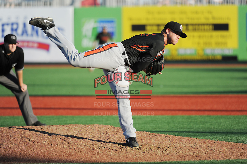 Aberdeen IronBirds pitcher David Hess (46) during game against the Brooklyn Cyclones at MCU Park on July 5, 2014 in Brooklyn, NY.  Aberdeen defeated Brooklyn 18-2.  (Tomasso DeRosa/Four Seam Images)