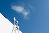 A white wooden ladder leaning against a wall extends skywards