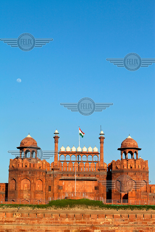The Red Fort (Lal-Qila) built between 1639 and 1648 by Shah Jahan after he transferred his capital from Agra to Delhi.
