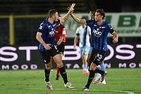 24th June 2020, Bergamo, Italy; Seria A football league, Atalanta versus Lazio;  Robin Gosens celebrates scoring his goal for 1-2 in the 38th minute