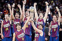 FC Barcelona Regal's Brad Oleson, Alex Abrines, CJ Wallace, Xabi Rabaseda, Marcelinho Huertas, Victor Sada and Juan Carlos Navarro celebrate the victory in the Spanish Basketball King's Cup Final match.February 07,2013. (ALTERPHOTOS/Acero)