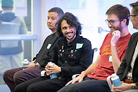 Panel - Industry Insights: Careers in Media and Entertainment<br /> The MAC Department and the Hameetman Career Center present an informative evening with Oxy alumni currently working in the Media & Entertainment industry. Johnson Hall McKinnon Global Forum, Thursday, Oct. 25, 2018. Sponsored by Career Services and the  Media Arts & Culture Dept.<br /> The MAC alumni on the panel were, from left: Joe Jihoon '97; Gerry Maravilla '09; Zak Stoltz '10; Anne Kelly '11; Catherine Haight '98; Kate Bustamante '14 and student moderators October Wyatt '19 and Carolynn Krueger '19.<br /> (Photo by Marc Campos, Occidental College Photographer)