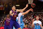 League ACB-ENDESA 2018/2019. Game: 14.<br /> FC Barcelona Lassa vs Monbus Obradoiro: 79-73.<br /> Pierre Oriola vs Vladimir Brodziansky.
