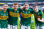 Cathal Ferriter, Niall Donohue, Michael Potts and Chris O'Donoghue Kerry Minors celebrate after defeating Cavan in the All Ireland Minor Semi Final in Croke Park on Sunday.