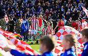 4th November 2017, bet365 Stadium, Stoke-on-Trent, England; EPL Premier League football, Stoke City versus Leicester City;Ryan Shawcross of Stoke City leads the teams onto the pitch