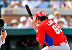 9 March 2011: Philadelphia Phillies' infielder Jeff Larish avoids a high and inside pitch during a Spring Training game against the Detroit Tigers at Joker Marchant Stadium in Lakeland, Florida. The Phillies defeated the Tigers 5-3 in Grapefruit League play. Mandatory Credit: Ed Wolfstein Photo