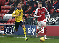 Fleetwood Town's James Husband under pressure from Oxford United's Jordan Graham<br /> <br /> Photographer Rich Linley/CameraSport<br /> <br /> The EFL Sky Bet League One - Fleetwood Town v Oxford United - Saturday 12th January 2019 - Highbury Stadium - Fleetwood<br /> <br /> World Copyright &copy; 2019 CameraSport. All rights reserved. 43 Linden Ave. Countesthorpe. Leicester. England. LE8 5PG - Tel: +44 (0) 116 277 4147 - admin@camerasport.com - www.camerasport.com