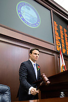 TALLAHASSEE, FLA. 3/5/13-OPENING030513CH-Speaker of the House Will Weatherford, R-Wesley Chapel, gavels the House to order for opening day of the 2013 legislative session, Tuesday at the Capitol in Tallahassee, Fla...COLIN HACKLEY PHOTO