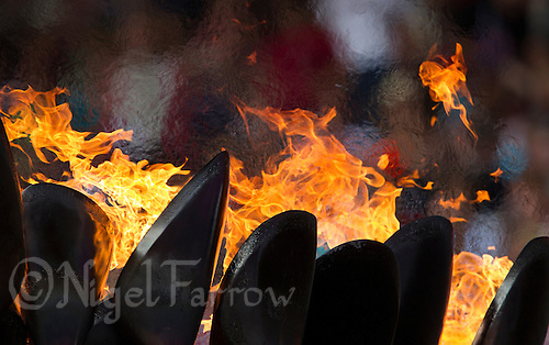 03 AUG 2012 - LONDON, GBR - The Olympic Flame burning during the London 2012 Olympic Games athletics at the Olympic Stadium in the Olympic Park in Stratford, London, Great Britain .(PHOTO (C) 2012 NIGEL FARROW)