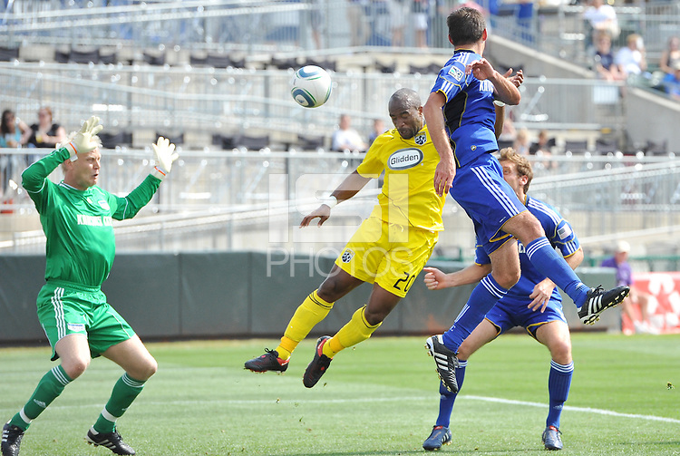 Emilo Renteria scores the game winning goal...Kansas City Wizards were defeated 1-0 by Columbus Crew at Community America Ballpark, Kansas City, Kansas.
