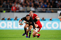 1st November 2019, Tokyo, Japan;  Aaron Smith (NZL) sees his run at the line topped by Welsh defense;  2019 Rugby World Cup 3rd place match between New Zealand 40-17 Wales at Tokyo Stadium in Tokyo, Japan.  - Editorial Use