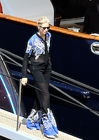 Karolina Kurkova coming out of Roberto Cavalli's yacht  during the 66th Cannes film Festival
