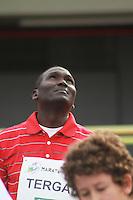 SAO PAULO, SP,  10  - MARATONINHA EM SAO PAULO- Pelo segundo ano consecutivo o queniano Paul Tergat, um dos maiores fundistas da história do atletismo mundial,  participa da quarta edição da Maratoninha de São Paulo, neste domingo, 10 de junho, no Conjunto Desportivo Constâncio Vaz Guimarães, no Ibirapuera.DE JUNHO DE 2012  - FOTO: GEORGINA GARCIA/ BRAZIL PHOTO PRESS.