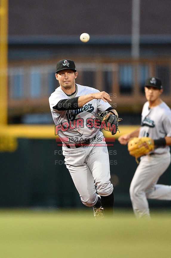 Jupiter Hammerheads third baseman Ross Wilson (3) throws to first during a game against the Bradenton Marauders on April 17, 2014 at McKechnie Field in Bradenton, Florida.  Bradenton defeated Jupiter 2-1.  (Mike Janes/Four Seam Images)