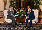Singapore Prime Minister Lee Hsien Loong (L) meets with Egypt's President Abdel Fattah al-Sisi (R) during a courtesy call at the Istana presidential palace in Singapore on August 31, 2015. President Abdel Fattah al-Sisi is on a three-day state visit at the invitation of President Tony Tan Keng Yam. Photo by Egyptian President Office