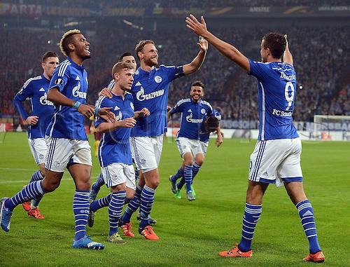 22.10.2015. Gelsenkirchen, Germany. UEFA Europa League football. FC Schalke versus Sparta Prague. Goal celebration for 1:0 scorer Franco Di Santo (FC Schalke 04)