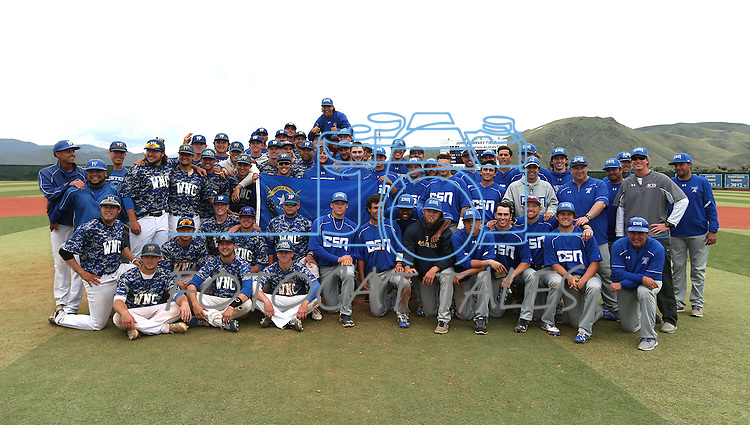College of Southern Nevada and Western Nevada College teams pose after the final game at WNC  in Carson City, Nev. on Friday, May 6, 2016. <br />
