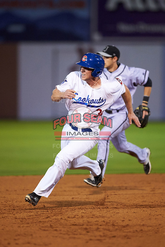 Chattanooga Lookouts catcher Stuart Turner (30) running the bases during a game against the Jacksonville Suns on April 30, 2015 at AT&T Field in Chattanooga, Tennessee.  Jacksonville defeated Chattanooga 6-4.  (Mike Janes/Four Seam Images)