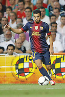 29.08.2012 Spain Supercopa, Real Madrid won (2-1) at Barcelona and was presented on goalaverage to win its ninth Supercopa of Spain) at Santiago Bernabeu stadium. The picture show Pedro Rodriguez Ledesma (Spanish forward of Barcelona)