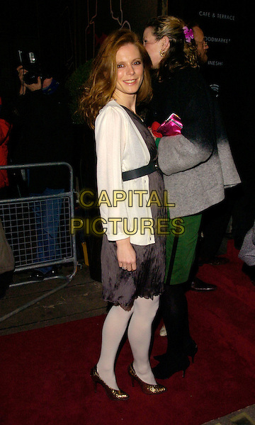EMILIA FOX.Attends A Celebration of Burns' Night at Harvey Nichols, Knightsbridge, London, England,.January 25th 200..full length grey gray dress black belt cream white cardigan tights.CAP/CAN.©Can Nguyen/Capital Pictures