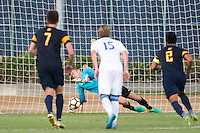 BERKELEY, CA - Oct. 13, 2016: Cal's Jonathan Klinsmann (1) stops a penalty kick against UCLA.  Cal Men's Soccer played UCLA on Goldman Field at Edwards Stadium.