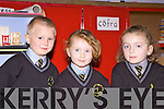 L-R Samuel Tees, Danika Curtin and Shauna Lane on their first days of school at Scoil Mhuire N.S, Brosna, Co. Kerry