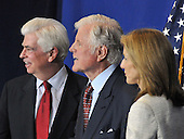 "Washington, D.C. - April 21, 2009 -- United States Senator Chris Dodd (Democrat of Connecticut), U.S. Senator Edward M. ""Ted"" Kennedy, and Caroline Kennedy listen as U.S. President Barack Obama signs the Edward M. Kennedy Serve America Act at the SEED School in Washington, D.C. on Tuesday, April 21, 2009..Credit: Ron Sachs / CNP"