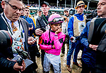 May 4, 2019 : Jockey Luis Saez (pink cap) is deep in thought and reflection as he waits out a 23-minute objection. His mount Maximum Security would be disqualified and Flavien Prat and his mount, Country House, were awarded the win in the Kentucky Derby on Kentucky Derby Day at Churchill Downs on May 4, 2019 in Louisville, Kentucky. Scott Serio/Eclipse Sportswire/CSM