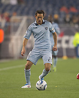 Sporting Kansas City midfielder Davy Arnaud (22) at midfield. In a Major League Soccer (MLS) match, the New England Revolution defeated Sporting Kansas City, 3-2, at Gillette Stadium on April 23, 2011.