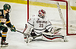 17 October 2015: University of Nebraska Omaha Maverick Goaltender Evan Weninger, a Freshman from Saskatoon, Saskatchewan, gives up the lone goal in the third period to the University of Vermont Catamounts at Gutterson Fieldhouse in Burlington, Vermont. The Mavericks defeated the Catamounts 3-1 in the second game of their weekend series. Mandatory Credit: Ed Wolfstein Photo *** RAW (NEF) Image File Available ***