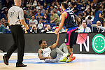 Laboral Kutxa's Darius Adams and Movistar Estudiantes's Jaime Fernandez during Liga Endesa ACB at Barclays Center in Madrid, October 11, 2015.<br /> (ALTERPHOTOS/BorjaB.Hojas)