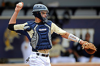 4 March 2012:  FIU catcher Aramis Garcia (44) throws the ball back to the pitcher as the FIU Golden Panthers defeated the Brown University Bears, 8-3, at University Park Stadium in Miami, Florida.