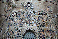 Romanesque decorations (detail) of the apse, the Duomo (Cathedral) of Palermo, Sicily, Italy. 12th century cathedral encompassing a wide variety of architectural styles from Romanesque to Byzantine. Picture by Manuel Cohen