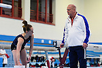 BG Media Day Lilleshall 15.10.15. Open training session ahead of the World Championships in Glasgow.Amy Tinkler pictured during training with Coach Colin Still.