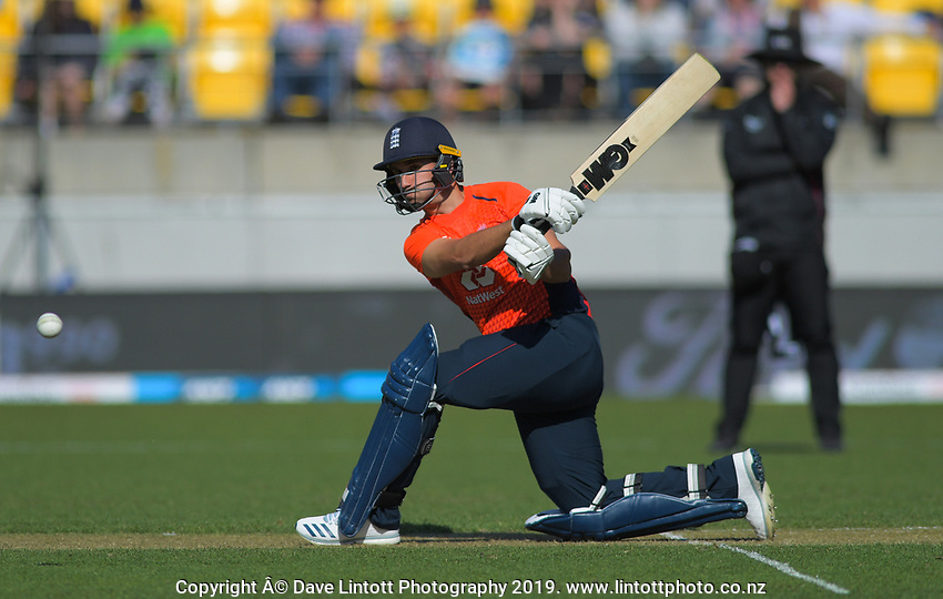 England's Lewis Gregory bats. Twenty20 International cricket match between NZ Black Caps and England at Westpac Stadium in Wellington, New Zealand on Sunday, 3 November 2019. Photo: Dave Lintott / lintottphoto.co.nz