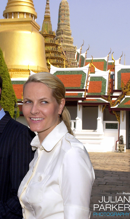 Crown Prince Haakon & Crown Princess Mette-Marit of Norway's visit to Thailand..Press metting in the compound of the Grand Palace..