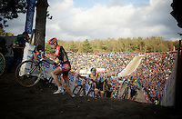 Rob Peeters (BEL/Vastgoedservice-Golden Palace) climbing out of &quot;The Pit&quot;<br /> <br /> GP Zonhoven 2014
