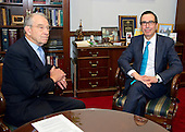 United States Senator Chuck Grassley (Republican of Iowa), left, meets Steven Mnuchin US President-elect Donald J. Trump's selection to be US Secretary of the Treasury, right, in his Capitol Hill office in Washington, DC on Thursday, December 8, 2016.<br /> Credit: Ron Sachs / CNP