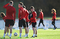 Daniel James (right) of Wales during the Wales Training Session at The Vale Resort in Cardiff, Wales, UK. Monday 12 November 2018
