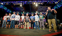 NWA Democrat-Gazette/BEN GOFF -- 04/25/15 Chris Jones (right), master of ceremonies, introduces the final ten competitors advancing after weigh-in on day three of the Walmart FLW Tour at Beaver Lake on Saturday Apr. 25, 2015 at the John Q. Hammons Center in Rogers.