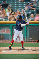 Eric Young Jr. (8) of the Salt Lake Bees bats against the El Paso Chihuahuas at Smith's Ballpark on July 5, 2018 in Salt Lake City, Utah. El Paso defeated Salt Lake 3-2. (Stephen Smith/Four Seam Images)