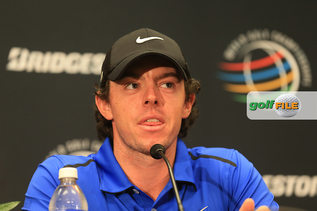 Rory McIlroy (NIR) gives a press conference during Wednesday's Practice Day of the 2013 Bridgestone Invitational WGC tournament held at the Firestone Country Club, Akron, Ohio. 31st July 2013.<br /> Picture: Eoin Clarke www.golffile.ie