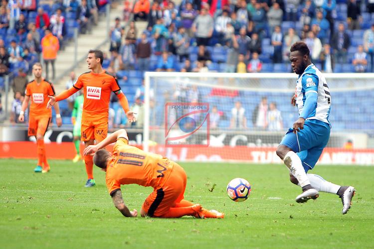 League Santander 2016/2017. Game: 9.<br /> RCD Espanyol vs SD Eibar: 3-3.<br /> Felipe Caicedo vs Ruben Pe&ntilde;a.