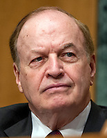 United States Senator Richard Shelby (Republican of Alabama), Chairman, US Senate Committee on Banking, Housing and Urban Affairs, listens as John G. Stumpf, Chairman and CEO, Wells Fargo & Company, testifies during the committee's hearing to examine Wells Fargoís unauthorized accounts and the regulatory response on Capitol Hill in Washington, DC on Tuesday, September 20, 2016. Photo Credit: Ron Sachs/CNP/AdMedia