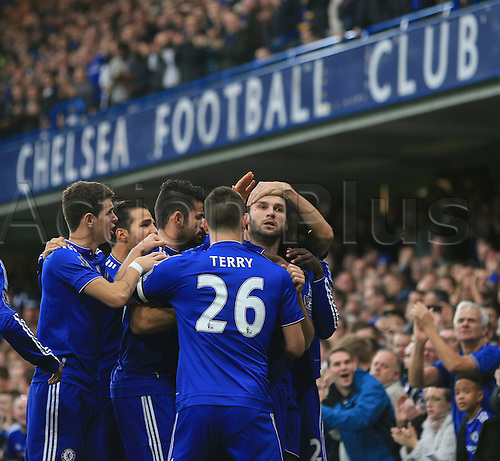 19.12.2015. Stamford Bridge, London, England. Barclays Premier League. Chelsea versus Sunderland. Chelsea's Branislav Ivanović is congratulated by teammates after putting his side in front.