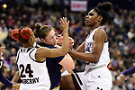 COLUMBUS, OH - APRIL 1: Jordan Danberry #24 and Teaira McCowan #15 of the Mississippi State Bulldogs fight over the ball with Jessica Shepard #23 of the Notre Dame Fighting Irish during the championship game of the 2018 NCAA Division I Women's Basketball Final Four at Nationwide Arena in Columbus, Ohio. (Photo by Justin Tafoya/NCAA Photos via Getty Images)