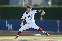 Colin Welmon (12) of the Loyola Marymount Lions pitches during a game against the Gonzaga Bulldogs at Page Stadium on March 27, 2015 in Los Angeles, California. Loyola Marymount defeated Gonzaga 6-5.(Larry Goren/Four Seam Images)