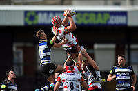 Tom Savage of Gloucester Rugby claims the ball in the air. West Country Challenge Cup match, between Gloucester Rugby and Bath Rugby on September 13, 2015 at the Memorial Stadium in Bristol, England. Photo by: Patrick Khachfe / Onside Images