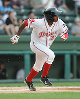 Outfielder Felix Sanchez (34) of the Greenville Drive, Class A affiliate of the Boston Red Sox, in a game against the Charleston RiverDogs on April 11, 2011, at Fluor Field at the West End in Greenville, S.C. Photo by Tom Priddy / Four Seam Images
